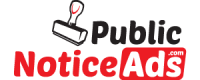 Public Notice ads in Newspaper | Public Notice ad rates | Public Notice ad sample