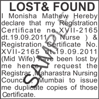 Lost & Found Notice in Mumbai | Public Notice ad sample