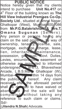 Notice ad format in Hyderabad